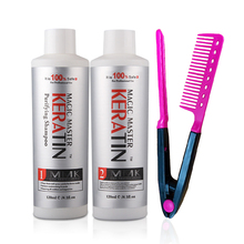 2pcs&Free Gift Comb Without Formalin 120ml Magic Master Brazilian Keratin Hair Treatment +120ml Purifying Shampoo Hair Care Set все цены