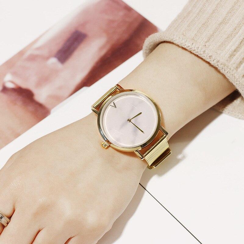 British Simple Style Women Quartz Wrist Watch Creative Marble Lady Quartz Wristwatch Golden Stainless Mesh Band Women's Watches