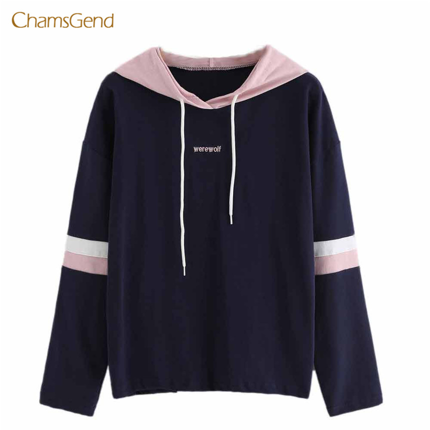 CHAMSGEND 2018 Winter Hoodies Casual Women Hoodies Hooded Patchwork Letter Embroidery Female Outwear Cotton Pullovers Loose S-XL