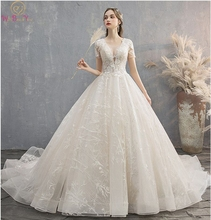 Ivory Wedding Dress 2019 New Scoop Neck Ball Gown Off Shoulder Short Sleeves Court Train Appliques Lace-up Elegant Bridal