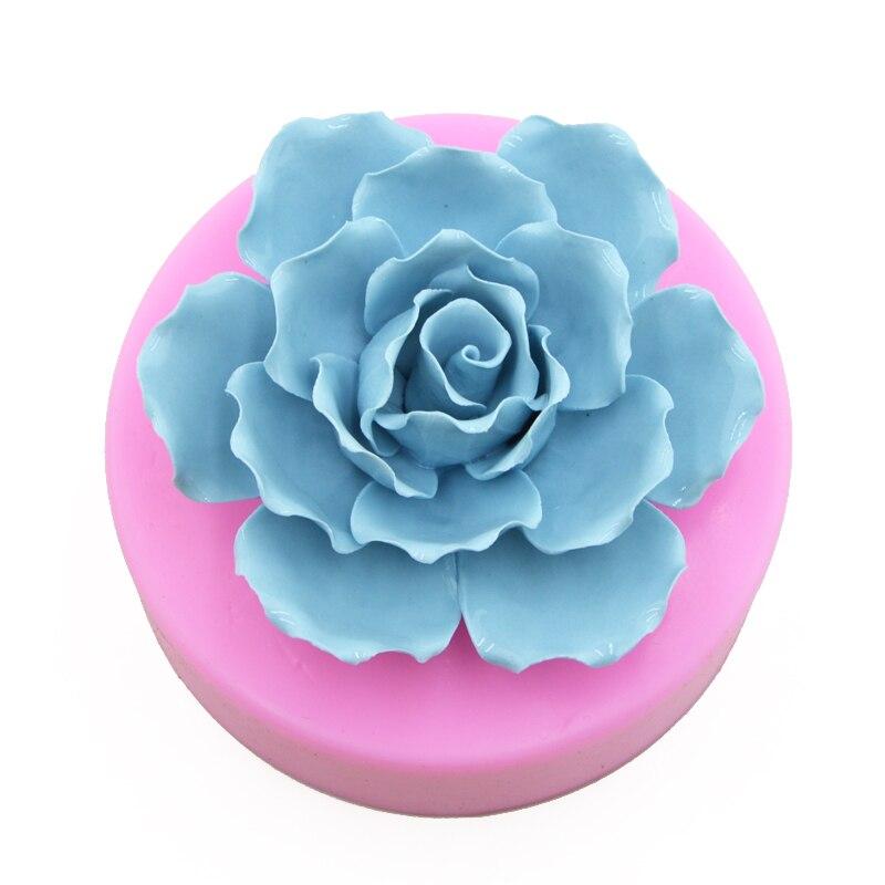 3D Silicone liquide grande pivoine Fondant gâteau moule Rose à la main savon Silicone moule
