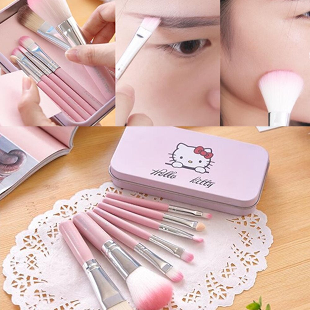 Hello Kitty Makeup Brushes Professional 7 Set Mini Pink Kuas Blush On 511 Cosmetics Maquillage Make Up Brush Kit Metal Box Maquiagem In Tools From