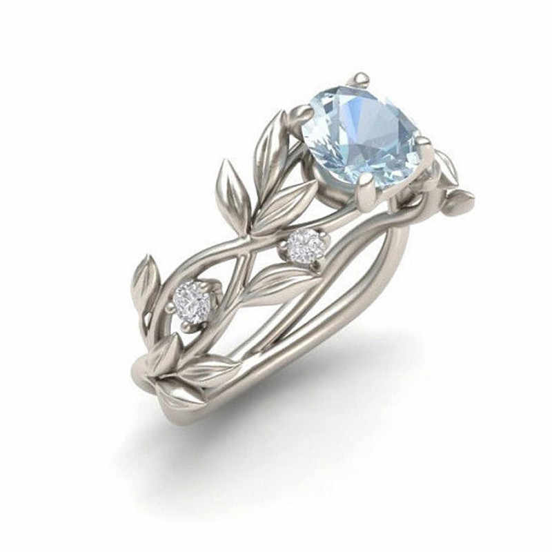 Wedding Crystal Silver Color Rings Vine Leaf Design Engagement Cubic Zircon Ring Fashion Bijoux For Women Ladies Jewelry GiftYHW