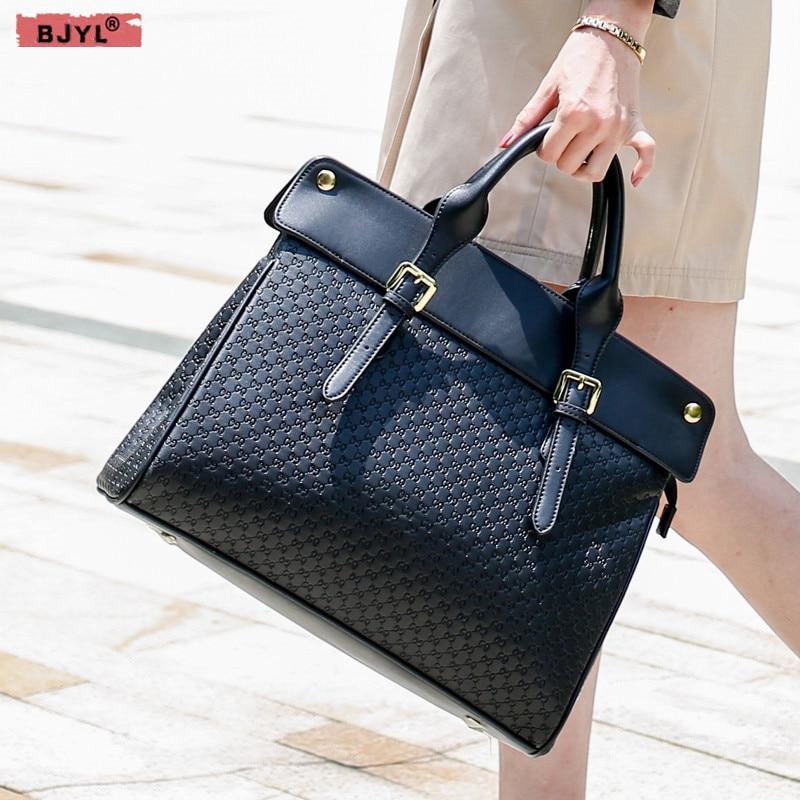 BJYL New Genuine Leather Women Briefcase Female 14 Inch Laptop Shoulder Bag Business Handbags Fashion Ladies Large Capacity Bags