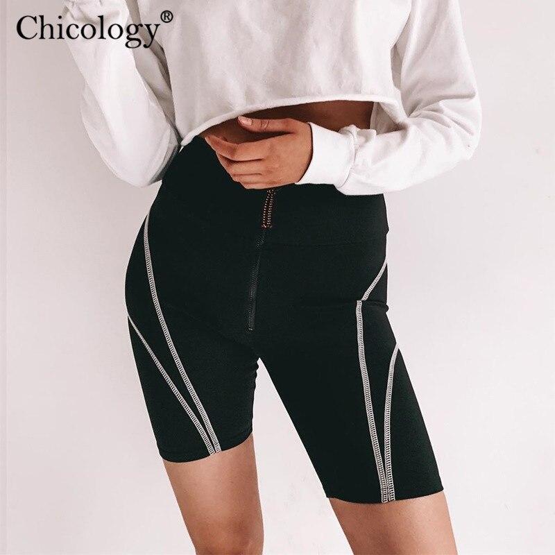 Chicology Zipper High Waist Women Biker Shorts 2019 Summer Female Sporting Clothing Sexy Lady Streetwear Outfit