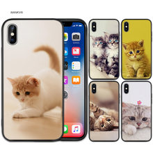 Funda de silicona suave de goma negra para iPhone XS XR X 7 8 6 S 5C 5E 5S 5 Plus Max funda Animal más lindo gato zorro(China)