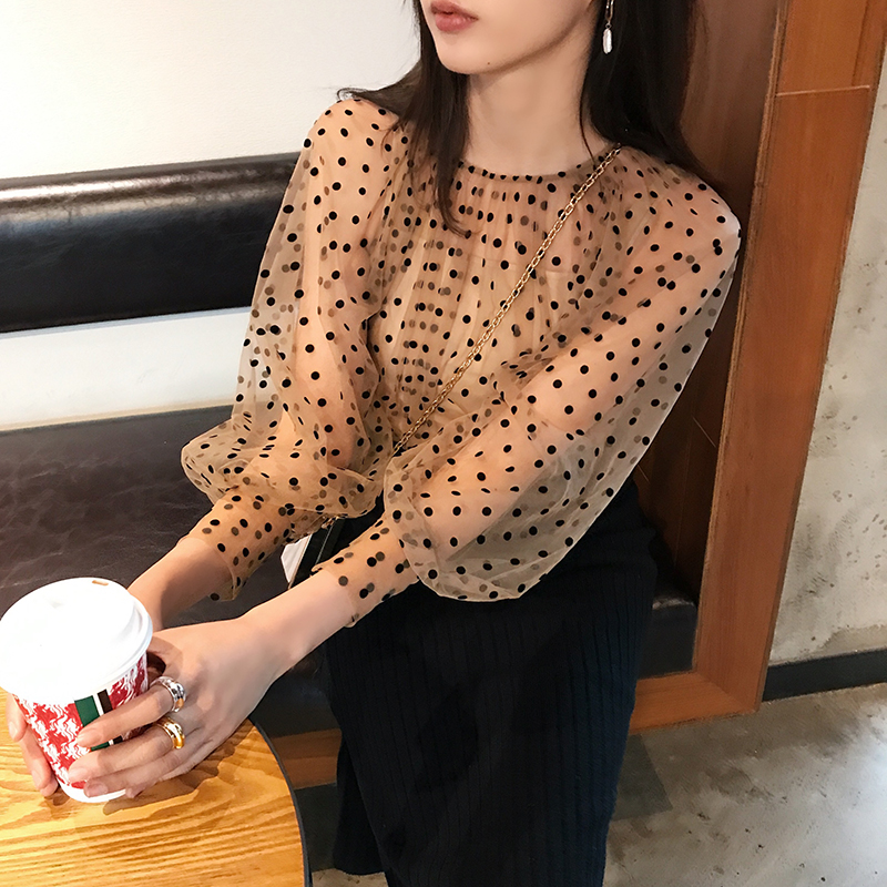 2019 Streetwear Polka Dot   Blouses   Women Vintage Sexy Hollow Out ladies tops Plus Size   Blouses     Shirt   blusas camisas mujer