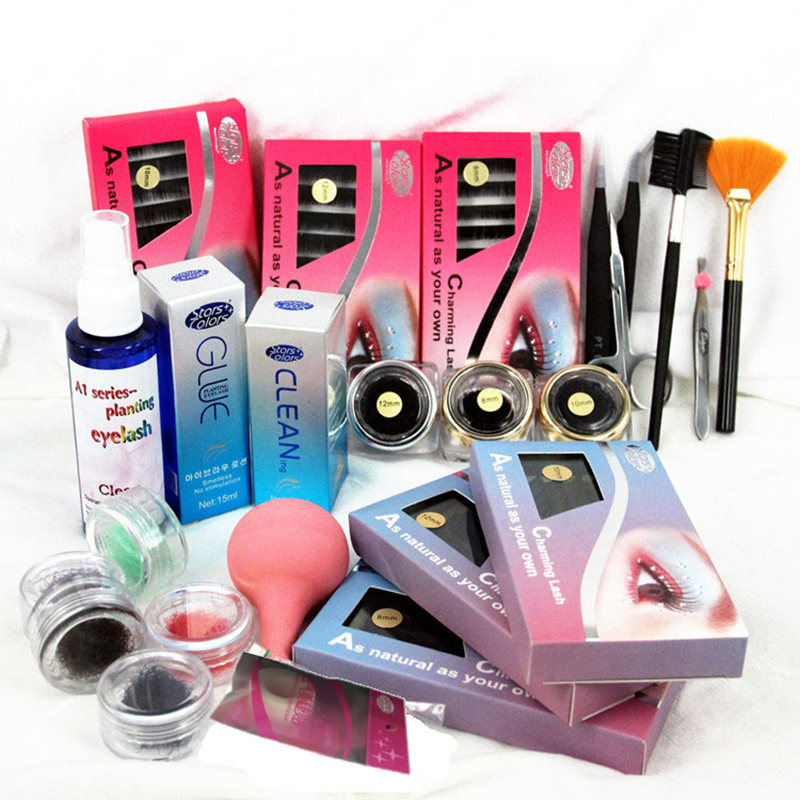 DIY Eyelashes Extension Kit  with Glue False Eyelash Full Kit Set Professional Eyebrow Make Up Set With Suitcase ves vmd 2