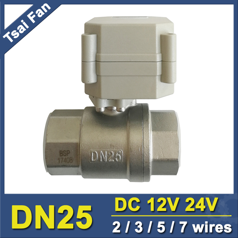 NPT/BSP 1 SS304 Motorized Valve DC12V / DC24V 2/3/5/7 Wires DN25 Electric Ball Valve For Water Automatic Control CE/IP67 1 2 mini electric actuator valve 2 wires cr01 dc12v motorized ball valve ss304 dn15 electric valve for water control