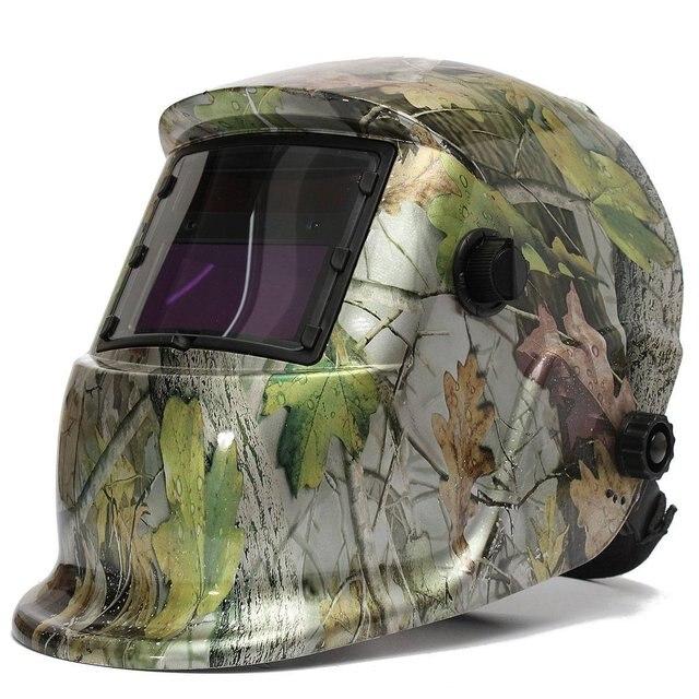Masque de soudage casque de soudage energie solaire automatique trois paire de lunettes supplémentaires verre camouflage livraison directe