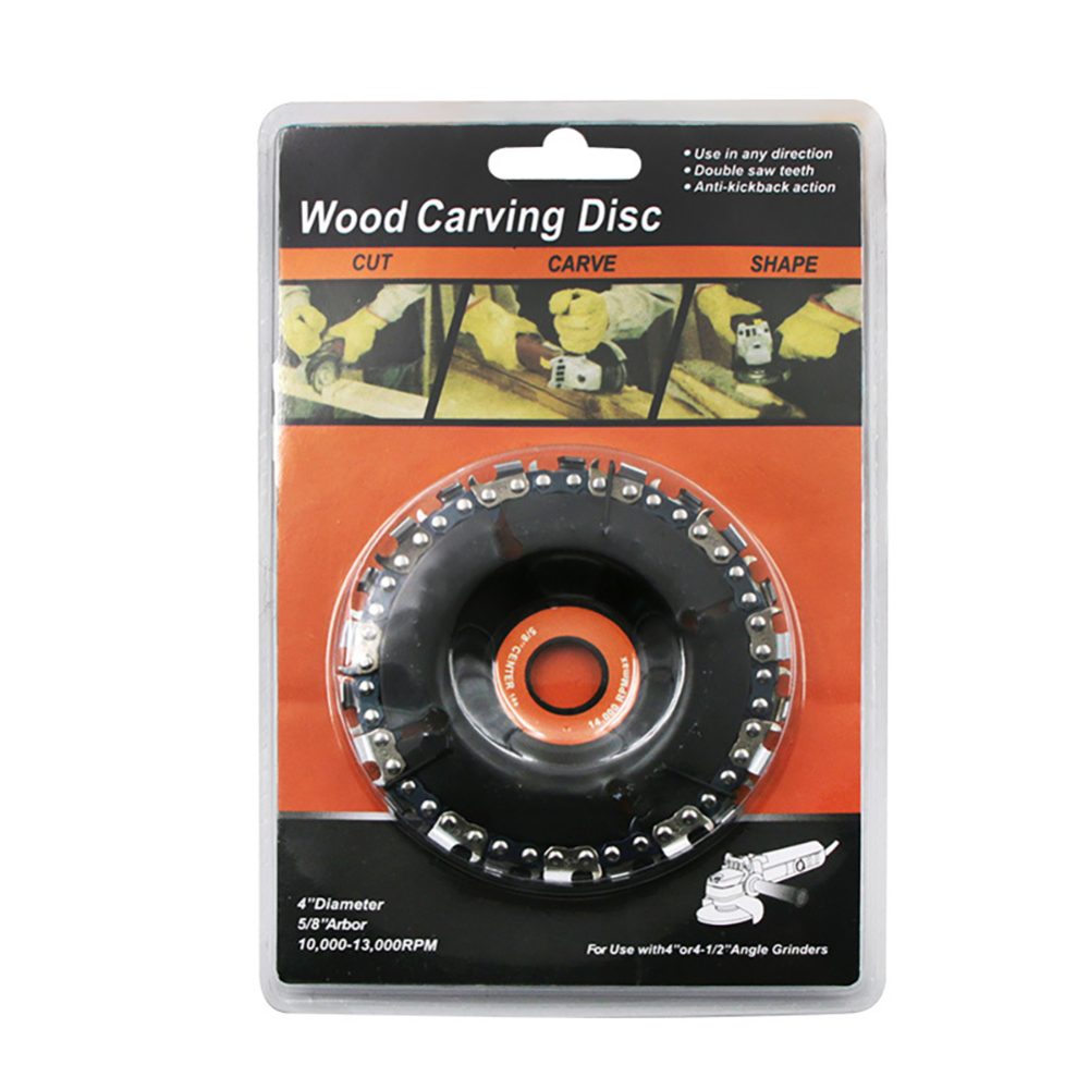 4 Inch Carbide Wood Carving Disk Grinder Disc Chain Woodworking Saw Blade Cutting Blade Wood Slotted Saw Blade Angle Grinder