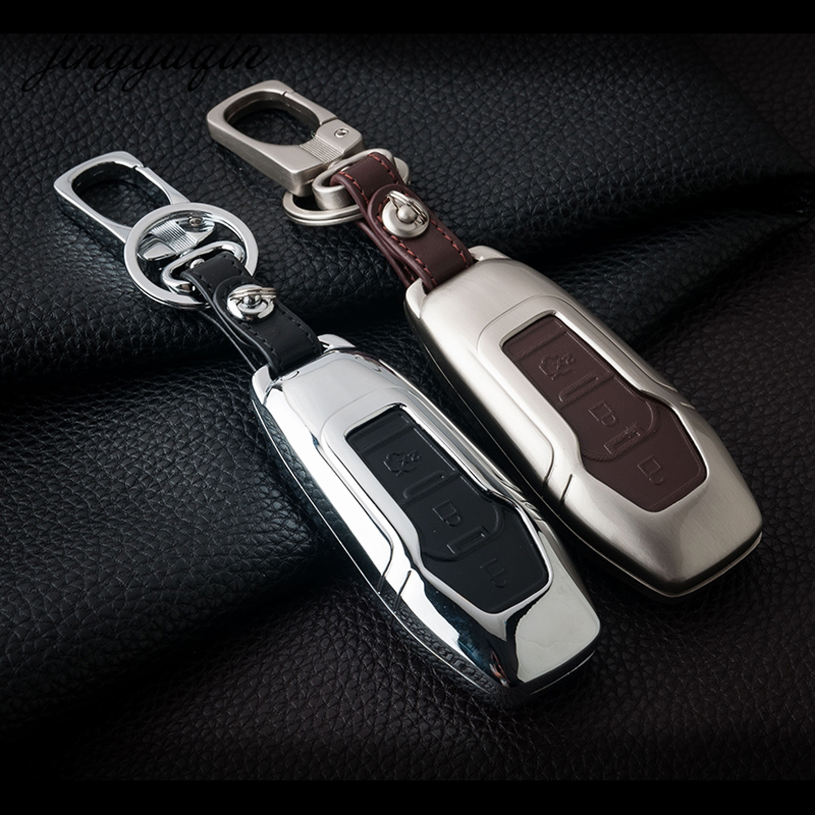 Jingyuqin for ford mondeo fiesta focus titanium new zinc alloy leather 3 button remote smart key