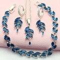 ЭШЛИ Мода Синий Создания Сапфир Посеребренные женщин Ювелирные Наборы Брелок Ожерелье Серьги Обруча Браслет Бесплатный Подарочная Коробка