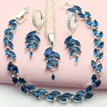 ASHLEY Fashion Blue Created Sapphire Silver Plated Women's Jewelry Sets Trinket Necklace Hoop Earrings  Bracelet Free Gift Box