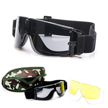 Hot ! X800 Airsoft Paintball Tactical Goggles 3 Lens Military Hunting Shooting A