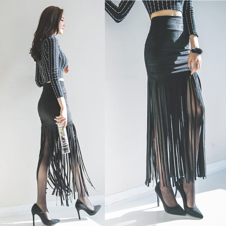 vogue of new fund of 2017 autumn tall waist fringed leather cloth with soft nap skirts a undertakes to female