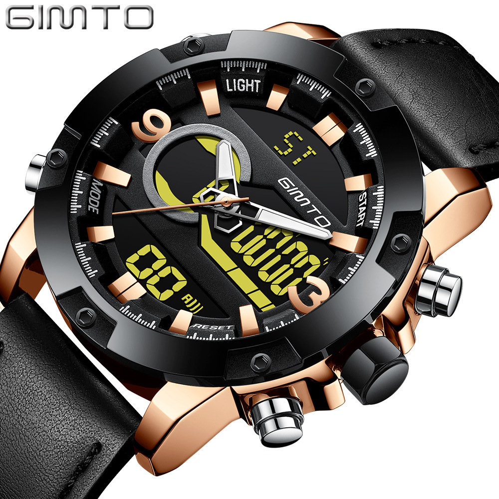 Luxury GIMTO Brand Men Sport Watch Dual Time Double Movement LED Digital Clock Army Military Watch Genuine Leather Waterproof gimto brand military digital sport watch men clock diving led watches army male dual time waterproof wristwatch relogio reloj