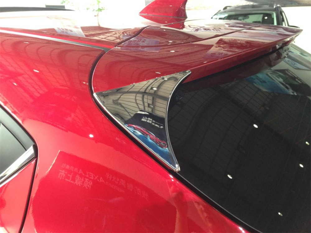 Chrome Rear Spoiler Wing Side Triangle Cover Trim for mazda 3 hatchbak 2014 2015 A style ,ABS,2pc/lot