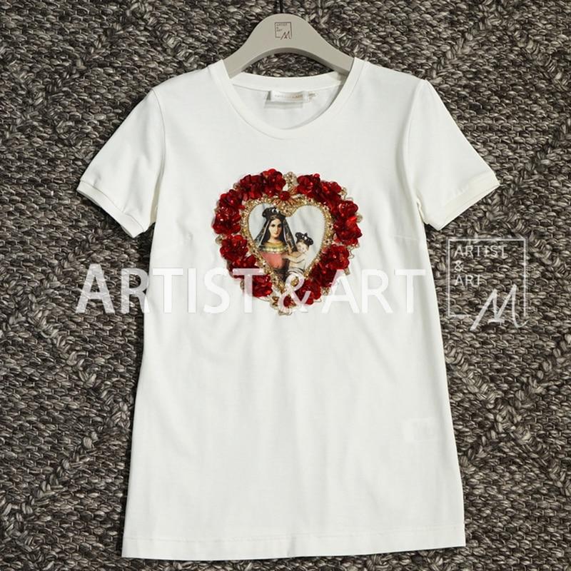 Perles Manches Haut Gamme Blanc T D'été De Coton Multi Tops Imprimer Courtes Femmes Piste La Paillettes Chemises Madonna T Svoryxiu shirts Casual TOcxBf