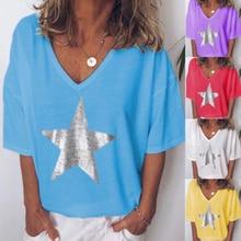 цены на Fashion Women V-Neck T shirt Casual Five-pointed Star Tops Summer Short Sleeve Plus Size Tees T-shirts  в интернет-магазинах