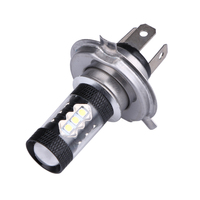 2Pcs Black High Power Fog Light H4 80W Led Car Light Bulb Auto Driving Fog Tail