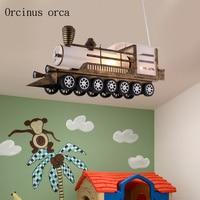 Cartoon creation train chandelier boy bedroom children's room lamp modern simple personality LED auto pendant lamp