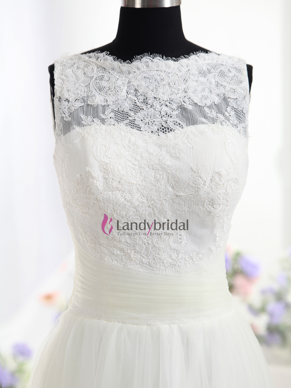 Lastest Style High Nekline Lace Bodice Tank Top Wedding Dressin