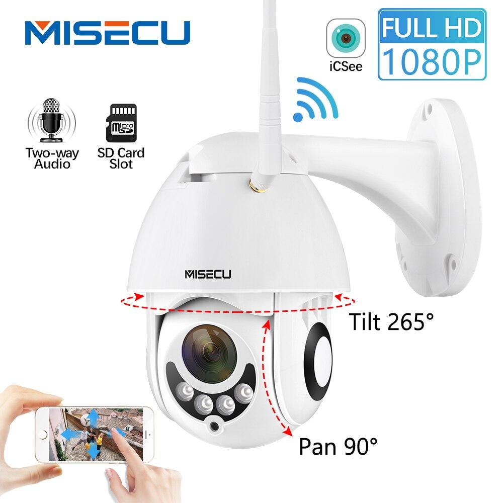 MISECU 1080P Speed Dome PTZ Ao Ar Livre Sem Fio Wi-fi Câmera de Segurança IP 2MP Nos Dois Sentidos de Áudio Cartão SD de Visão IR home Video