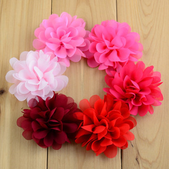 Wholesales 600pcs lot 7cm 30 Colors Kids Artificial Chiffon Hair Flowers For girls Headwear Flat Back