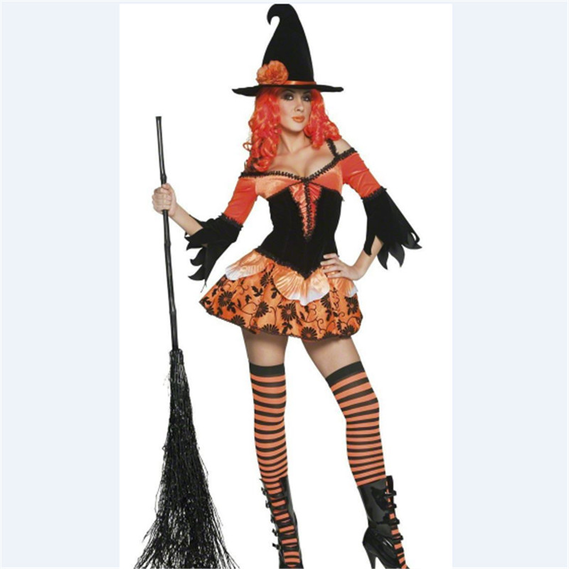 new high quality sexy orange dress halloween witch cute princess costumes bar theme party costume women - Popular Halloween Themes
