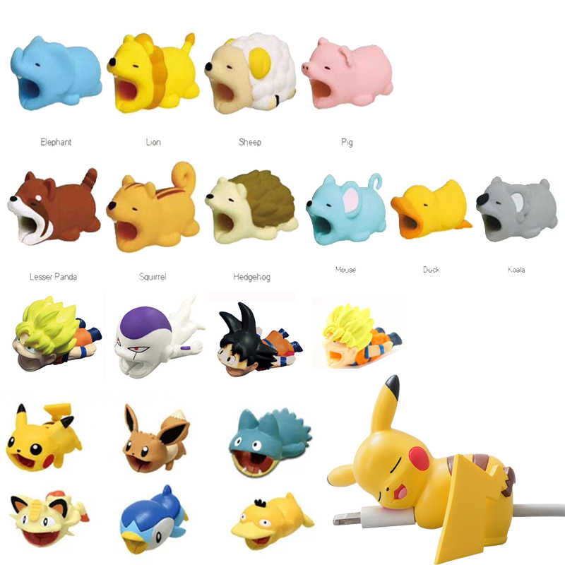 super hero dragon ball Cable Bite Animal Cable Protect for IPhone android Toy Eevee Luffy Sauron gags Practical joke for Adults