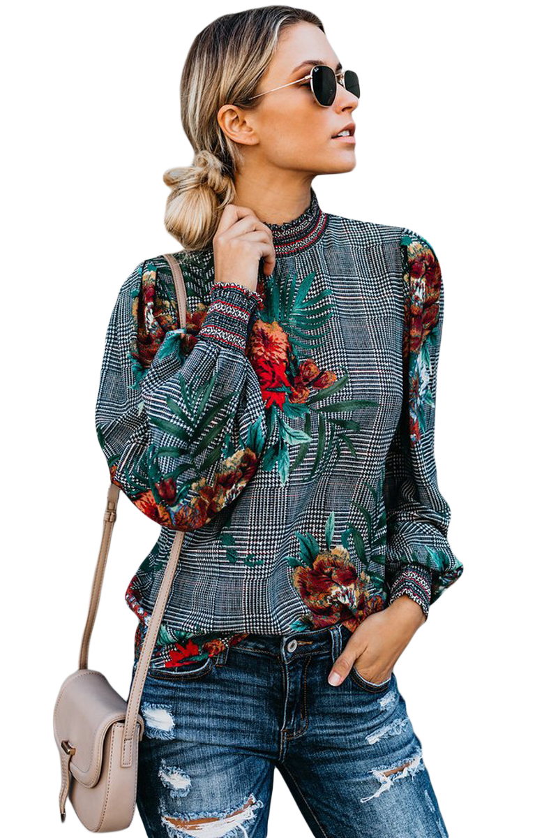 Gray-Plaid-Tropical-Print-Smocked-Long-Sleeve-Blouse-LC251632-11-1