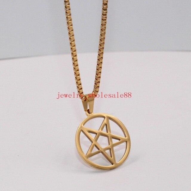 FREE BOX Rose gold Pentagram Necklace 45cm Chain For Women For Girl L5PzjsS