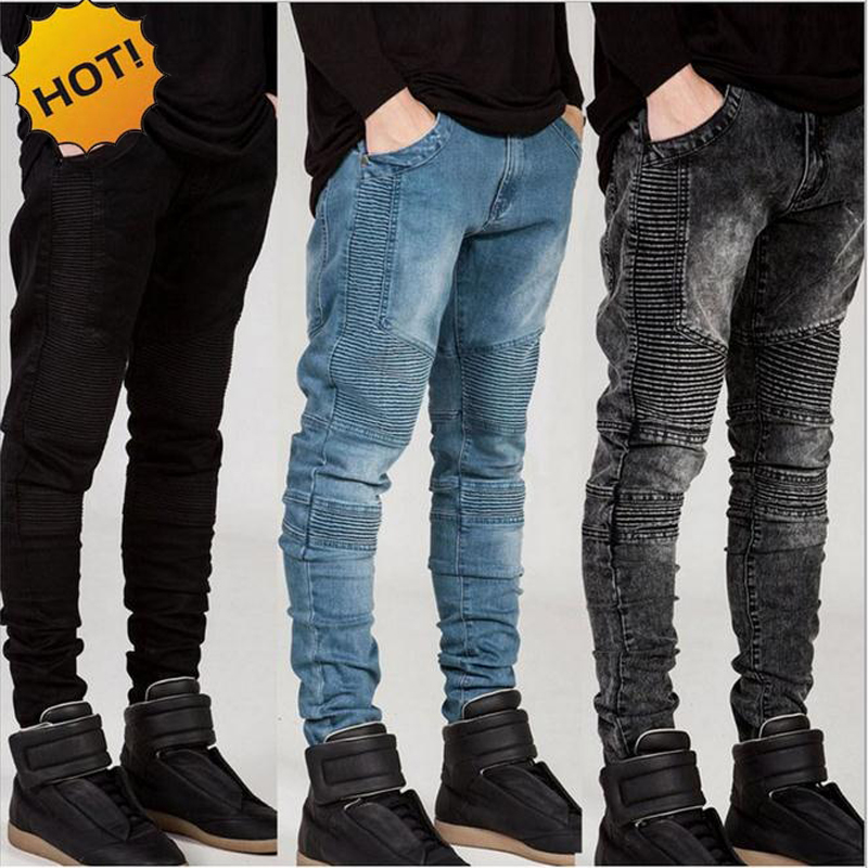 Fashion 2016 Hot Stretch Slim Fit Straight Pants Pleated Runway Biker Jeans Men White/Khaki/Black/Grey/Blue Bottoms Mens 28-38