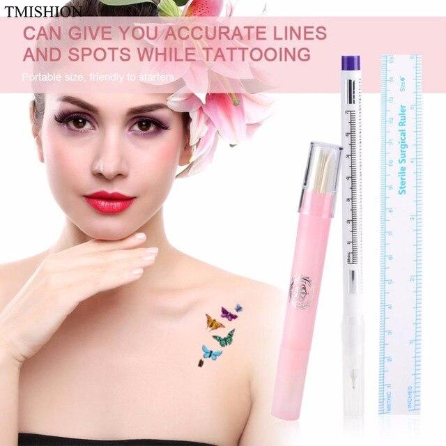 US $1 88 13% OFF|Waterproof Skin Marker Tattoo Piercing Marking Pen &  Sterile Surgical Ruler + Skin Magic Eraser Pen Permanent makeup  Accessories-in