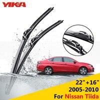 YIKA 22 16 For Nissan Tiida 2005 2010 Windscreen Wiper Blade Car Glass Rubber Wipers Windshield