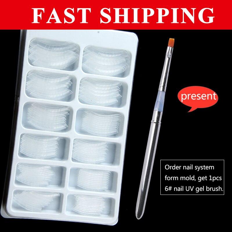 1box send free uv gel brush gift 120pcs False Nail Tips Dual Form Nail System for UV GEL Acrylic Nail Art Mold Tips Decoration