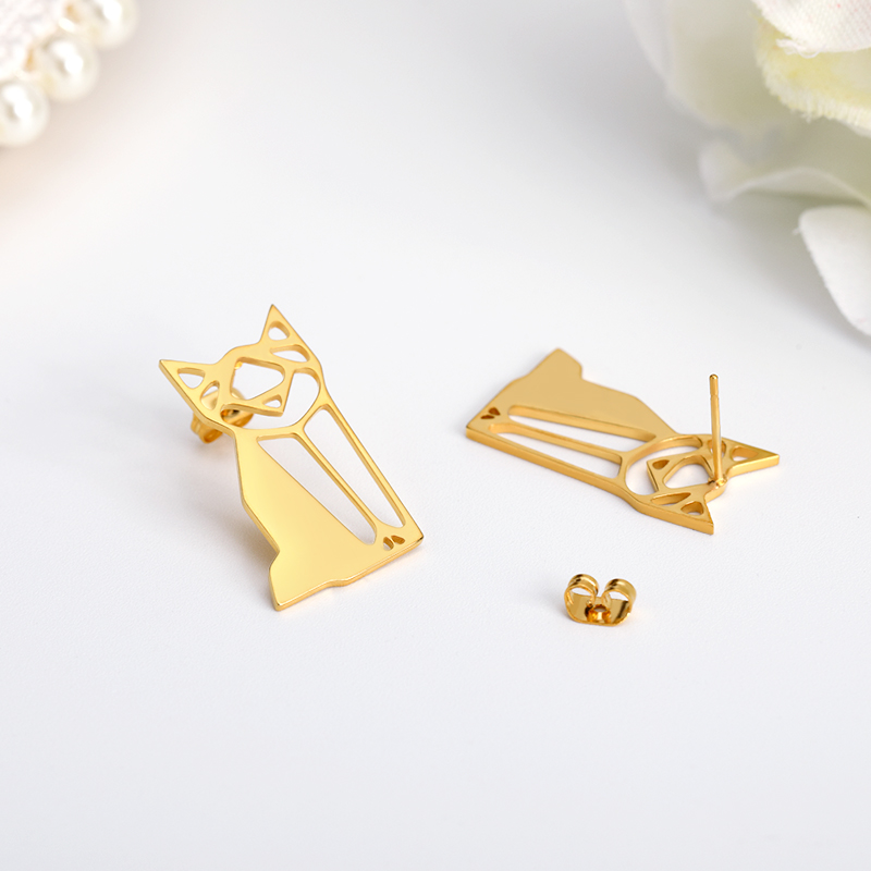 Hollow Geometric Funny Cat Stud Earrings Bijoux Cute Animal Lovers Jewelry Accessories Anime For Femme