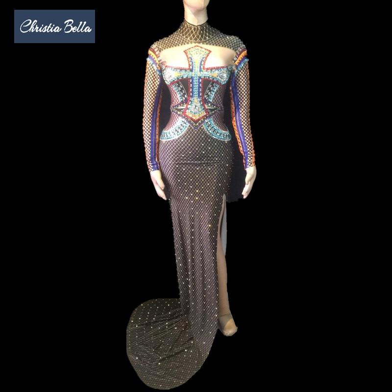 Christia Bella nouvelle mode imprimé cristaux une pièce robe femmes Sexy moulante robe haute fente Cheongsam fête chanteuse scène robe