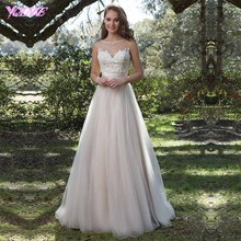 Elegant Sleeveless Wedding Dresses Bridal Gown Dress Boat Neck Tulle Appliques Beads Buttons Back Zipper Court Train Custom Made
