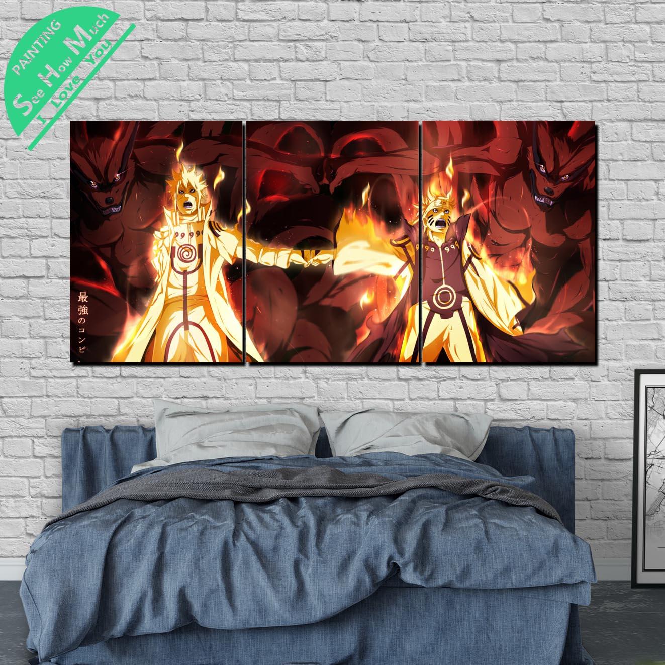 3 Шт. Наруто Аниме Современного Искусства Стены Холст Картины Плакаты и Принты Обрамленная  Лучший!