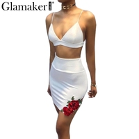 Glamaker Sexy Two Piece Suit Summer Dress Women Floral Embroidered Patch Club Casual Dress Sexy V