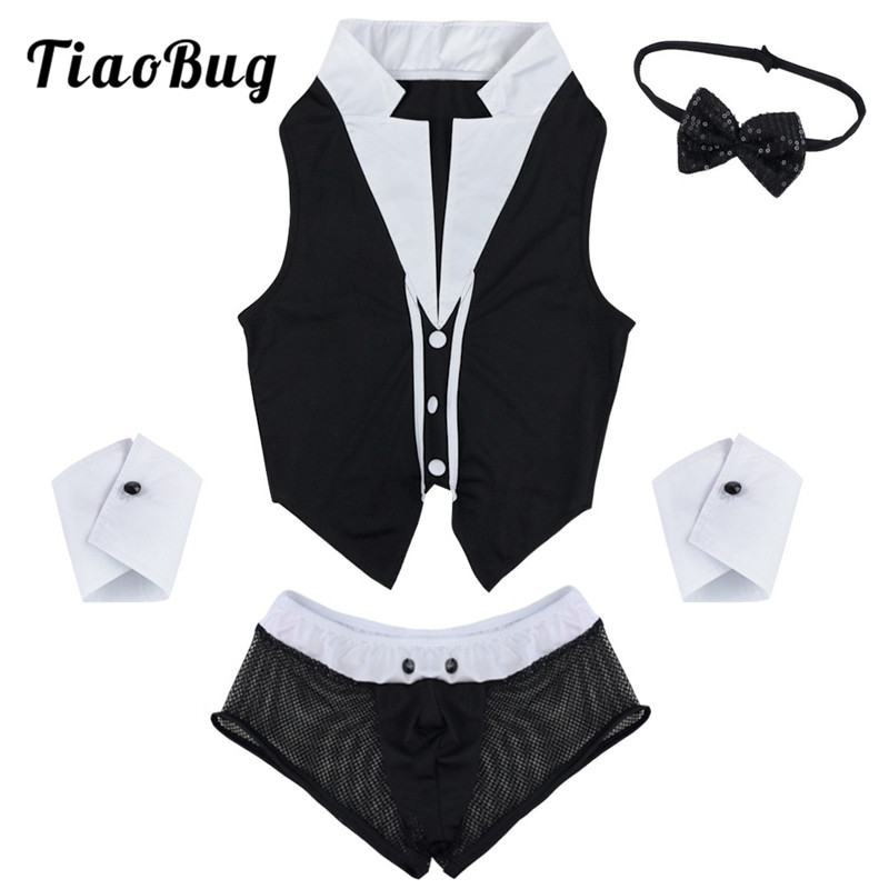 TiaoBug <font><b>Mens</b></font> Maid Role Play Costume Erotic <font><b>Sexy</b></font> <font><b>Halloween</b></font> Outfits Tops Boxer Briefs Underwear with Collar Handcuffs Lingerie Set image