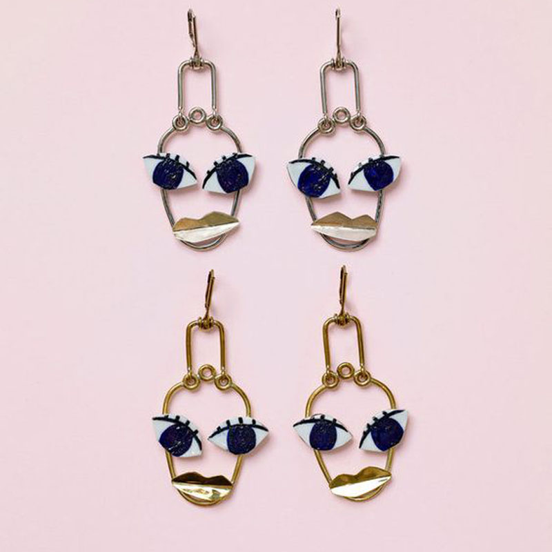 2017 Name Brand Jewlery Retro Exaggerated Face Statement Drop Earrings For Women Y Eye Lips