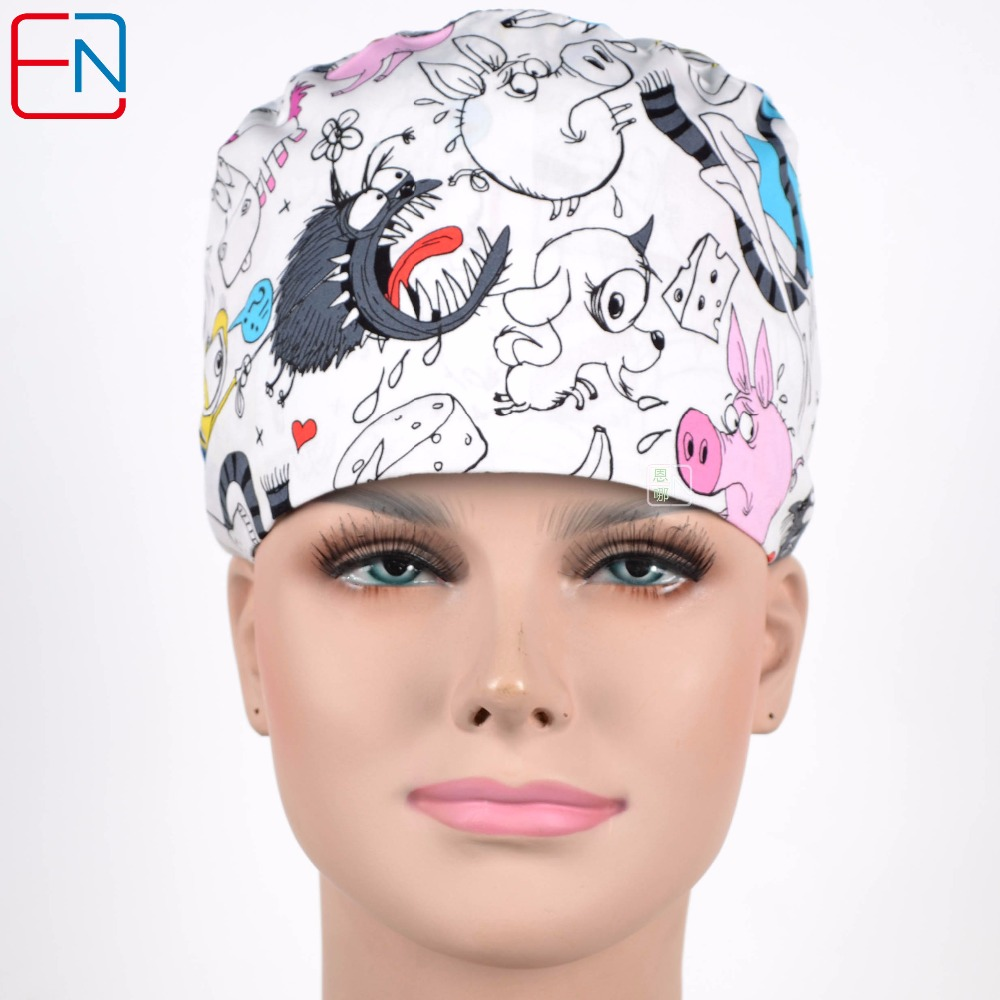 Hennar Print Scrubs Caps Masks Cotton Fabric Adjustable Size Freely For Hospital Doctor Surgery Clinic Nursing Working Hats Mask