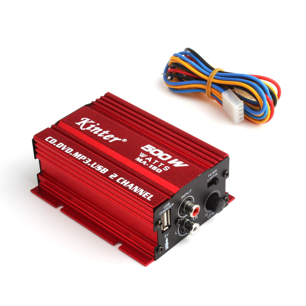 New 500W MA-150 DC9-15V 2-CH Mini Hi-Fi Stereo Audio Amplifier Amp Subwoofer For Car Motorcycle