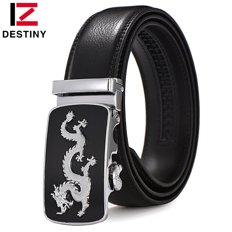 DESTINY Newest Dragon Belt Men Luxury Famous Brand Waist Strap Male High Quality Genuine Leather Belts For Men Automatic Buckle