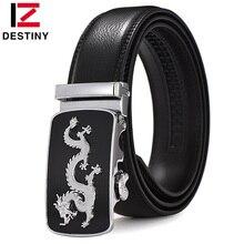 DESTINY Newest Dragon Belt Men Luxury Famous Brand Waist Strap Male High Quality Genuine Leather Belts For Men Automatic Buckle