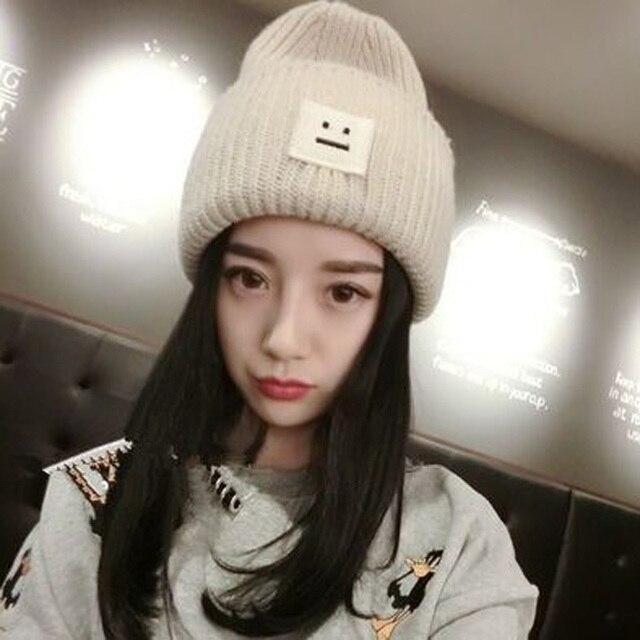 1 Pcs Korea Persegi Wajah Tersenyum Rajutan Topi Musim Gugur Musim Dingin  Pecinta merek Skullies Beanies b3bc46542a