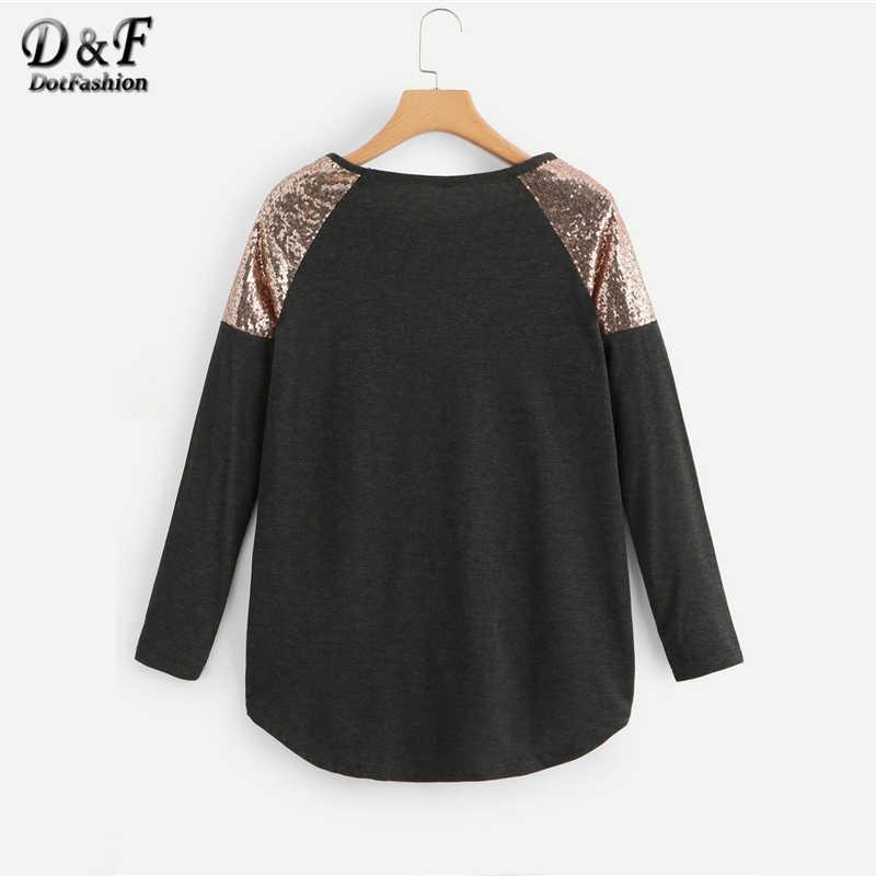 Dotfashion плюс размеры Женский, черный контраст блесток Асимметричная футболка Топы с длинными рукавами Повседневное 2019 осень для женщин s одежда футболка